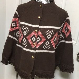 Vintage 70s Brown Sweater Knit Poncho Cape